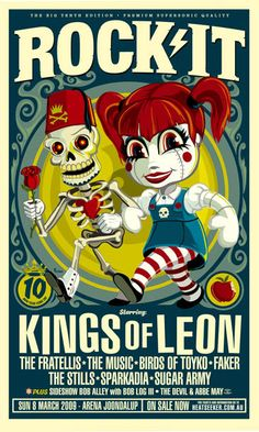 Kings of Leon, The Fratellis. Affiche Festival 2009