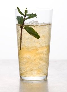 Mint Julep - Bourbon and mint-infused simple syrup. Fill glass with crushed ice, garnish with a mint sprig.