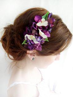 Floral Headpieces for Brides | eggplant flower headband - SERAPHINE - bridal flower headpiece ...