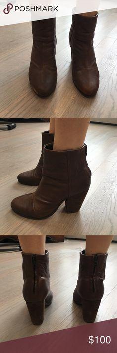 "RAG & BONE CHOCOLATE BROWN BOOTIES AUTHENTIC RAG & BONE CHOCOLATE BROWN BOOTIES. ZIPPERS IN THE BAG. DISTRESSED BROWN. NO FLAWS. 3"" HEELS. 8"" HIGH. GENTLY WORN ON SOLES rag & bone Shoes Ankle Boots & Booties"