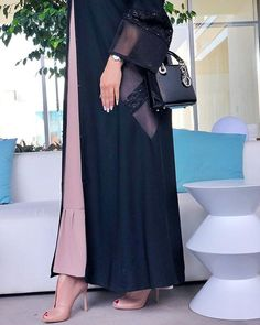with ・・・ Good things come to those who wait ・・・ Niqab Fashion, Modest Fashion Hijab, Fashion Outfits, Fashion Shoot, Mode Abaya, Mode Hijab, Arabic Dress, Hijab Fashionista, Abaya Designs