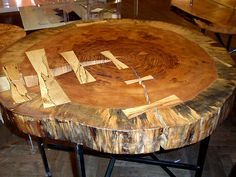 Butterfly Jointed Coffee Table from wood stump.