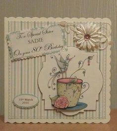 80th birthday cup/flower card