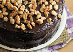 Banana Cake with Mocha Frosting and Salted Candied Peanuts