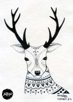 #INKtober day 3 Tribal deer  Original artwork ink on handmade paper by movezerb