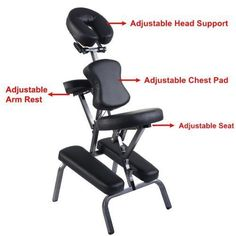 "New Quality Black 4"" Portable Massage Chair Tattoo Spa Salon w/ Free Carry Case #NewQualityBlack4"