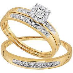 0.08 Carat (ctw) 10K Yellow Gold Round White Diamond Men & Women Cluster Engagement Ring Trio Bridal Set