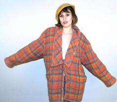 VTG 80s Emanuel Ungaro Parallel Fuzzy Mohair Wool Blend Oversized Coat by VintageWearsBoutique on Etsy