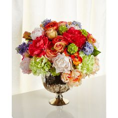 John-Richard Collection Kaleidoscope Faux-Floral Arrangement (47.565 RUB) ❤ liked on Polyvore featuring home, home decor, floral decor, multi, peony bouquet, peony artificial flowers, peony silk flowers, silk peony bouquet and rose bouquet