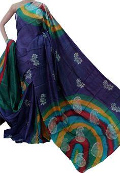 Multicolor Hand Block Printed Tussar Silk Saree