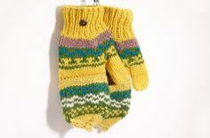 限量一件手織純羊毛針織手套 / 可拆卸手套 / 內刷毛手套 / 保暖手套 - 太陽下的森林