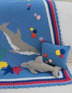 Imagen del modelo del delfín Afganistán almohada y del juguete del ganchillo