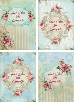 Vintage inspired keep calm carry on note cards scrapbooking crafts altered art #HandMade #AnyOccasion
