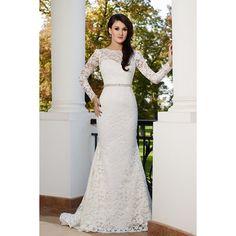 Timeless Illusion Dropped Train Lace Ivory Long Sleeve Wedding Dress... (875 PLN) via Polyvore featuring dresses i wedding dresses