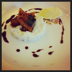 Caramelised pineapple with coconut rice pudding finished with pineapple and rum