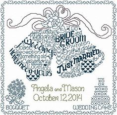 Imaginating Let's Marry - Cross Stitch Pattern. Model stitched on 14 ct White Aida Using DMC floss. Stitch count by Ursula Michael. Cross Stitch Alphabet Patterns, Wedding Cross Stitch Patterns, Word Patterns, Cross Stitch Designs, Cross Pictures, Cross Stitch Pictures, Cross Stitching, Cross Stitch Embroidery, Hand Embroidery