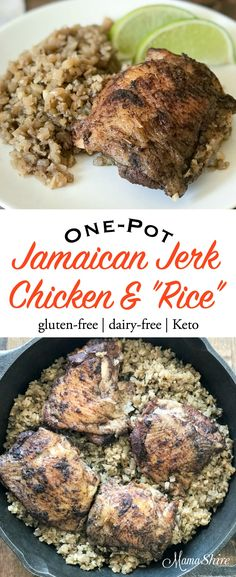 "Easy to make Jamaican Jerk Chicken & ""Rice\"" dinner! Recipe from Easy Keto Dinners by Carolyn Ketchum! #easyketo #eastketodinner #alldayIdreamaboutfood #mamashire #chicken #easydinner #trimhealthymama"