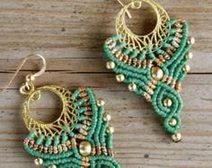 micro macrame large tribal hoop earrings purple by yasminsjewelry                                                                                                                                                                                 Mais
