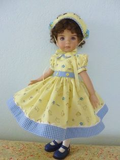 """Easter Dress for 13"""" Effner Little Darling Doll by Apple. This set includes the hat, dress, full slip, stockings, and underpants. See Oma's Patsy board for the coordinating outfit for Patsy."""