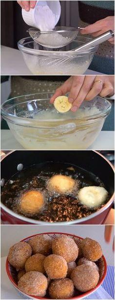 Bolinho de Chuva com Banana,é aquele tipo de receita que faz a gente voltar na infância #bolinhodechuva #doce #doces #sobremesa #sobremesas