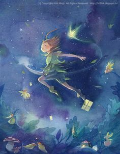 An illustration to Peter Pan, by the exquisite South Korean artist Kim Min Ji.