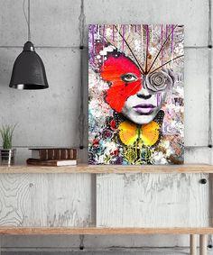 Tableau portrait street art Femme papillon sauvage Pop Art by Lowrens - Tableau Deco Tableau Pop Art, Street Art, Prints, Painting, Butterflies, Canvas, Artist, Painting Art, Paintings