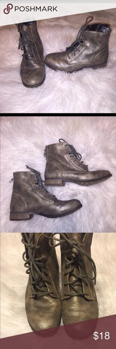 grey/gold metallic ankle combat boots Not the brand listed . These are  mossimo .