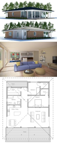 Small House Plan - only 2 floors, switch hall block with bedroom