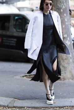 black leather dress. #LiliaLitkovskaya in Paris.