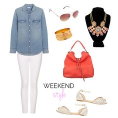 Weekend Style - chambray and white jeans with Prima donna acessories
