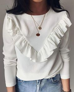 Ruffles Design Round Neck Long Sleeve Blouse Women's Online Shopping Offering Huge Discounts on Dresses, Lingerie , Jumpsuits , Swimwear, Tops and More. Trend Fashion, Fashion Outfits, Khaki Shirt, Casual T Shirts, Shirt Blouses, Cute Blouses, Blouses For Women, Ruffles, Long Sleeve Shirts