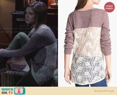 Miranda's brown lace back sweater on Ravenswood. Outfit Details: http://wornontv.net/24987 #Ravenswood #fashion