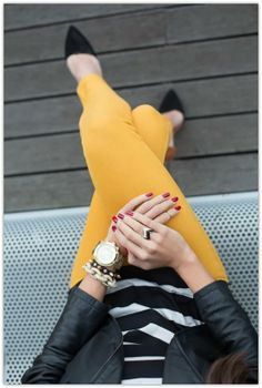 Classic black & white is the perfect canvas for a pop color. This fall, try pairing this combo with a rich mustard hue.