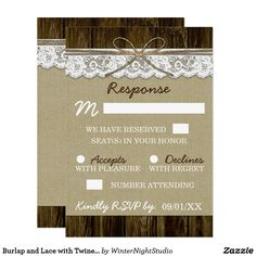 Burlap and Lace with Twine Wedding RSVP Cards