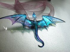 Dragon Necklace, Handmade, Blue Purple, iridescent with lilac organza tied ribbon or silver plated chain
