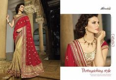 Red Pallu With Beige Chiffon Sarees Online Fashion