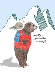 The bear and his seagull - Sara Gorini #illustration #bear #draw