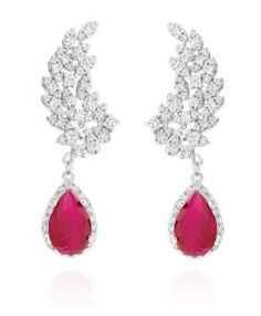 brinco da moda rubi com zirconias cristais e banho de rodio semi joias modernas
