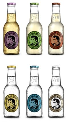 "Packaging for beverages designed to accompany quality spirits.    ""In 1773 Thomas Henry was for the first time able to enrich water with carbon dioxide and help people tingle their taste experience. He is therefore the namesake of an exclusive selection of soft drinks, which pay full respect to this tradition."