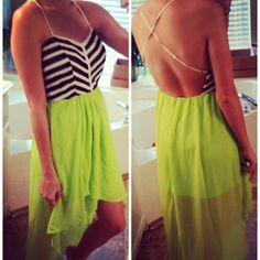 Striped Lime High Low Dress