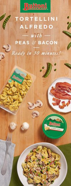 Looking for spring dinnertime ideas? Then this bright and flavorful Tortellini Alfredo is for you. Chopped onions, mushrooms, and bacon crisp up in the frying pan, pairing nicely with the Buitoni Refrigerated Spinach Cheese Tortellini. Green peas add a pop of color, while a drizzle of Buitoni Refrigerated Alfredo Sauce and Buitoni Refrigerated Freshly Shredded Parmesan Cheese tie it all together.