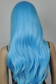Blue Wigs Lace Hair Lace Frontal Wigs Lady Gaga Wig Side Part Wig With – eggplantral Bright Blue Hair, Hair Color Blue, Cool Hair Color, Brown Ombre Hair, Grey Ombre, Blue Wig, 1920s Hair, Frontal Hairstyles, Hair Dye Colors