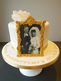 Golden Wedding Anniversary Cake With Edible Ornate Gold Photo Frame And Black White Photograph