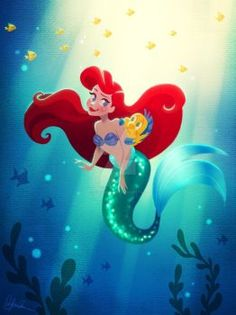 🐠💦 here is the full piece of Ariel and Flounder! In my mind he saw like a floating piece of algae and panicked. Lol by Dylan Bonner Disney Princess Ariel, Disney Nerd, Princess Art, Disney Tangled, Disney Fan Art, Disney Magic, Disney Pixar, Disney Princesses, Goth Disney