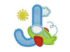 Airplane Letter J Applique Embroidery Design for by EmbroideryLand