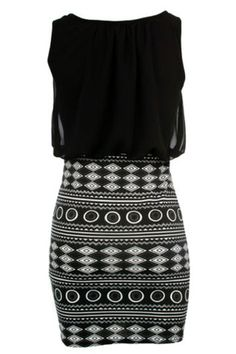 Sexy O Neck Tank Sleeveless Geometric Print Black Polyester Sheath Mini Dress