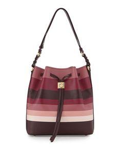 Sansy+Striped+Bucket+Bag,+Rouge+Noir/Griott+by+Salvatore+Ferragamo+at+Neiman+Marcus.