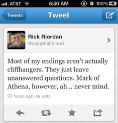 WHY RICK?!? WHYYYYYY??!?!?!!?!?!?!?! worst cliffhanger ever!! And i thought the Lost Hero was bad!!!!!