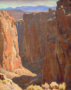 """Virgin Creek Canyon,"" Maynard Dixon, oil on canvas Pierre Auguste Renoir, Mountain Landscape, Landscape Art, Landscape Paintings, Desert Landscape, Mountain Art, Imagen Natural, Maynard Dixon, Klimt"