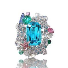 Anna Hu paraiba and diamond ring